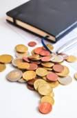 Coins on a table — Stock Photo