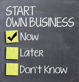 Start own business today quiz question — Stock Photo