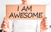 I am awesome text on cardboard — Stock Photo