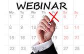 Webinar date on calendar or agenda — Stock Photo