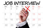 Job interview date highlighted on calendar — Stock Photo