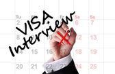 Visa interview date on calendar — Stock Photo