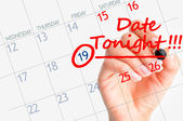 First date reminder on calendar — Stock Photo
