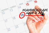 Mammography appointment on calendar — Stock Photo