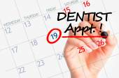 Dentist appointment date on calendar — Stock Photo