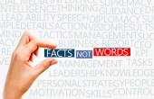 Facts not words concept — Stock Photo