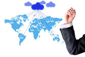 Cloud computer network in world map — Stock Photo