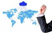 Cloud computer network world map — Stock Photo