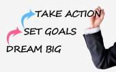 Dream big set goals take action advice — ストック写真