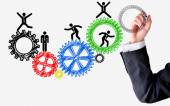 Human resources spinning wheels concept — Foto Stock