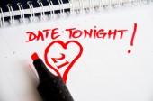 Date tonight marked in agenda — Stock Photo