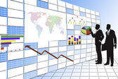 Businessman click digital board. — Foto de Stock