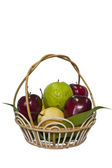 Fruit basket on a white background — Stock Photo