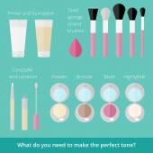 Ftat set of makeup products — Stock vektor