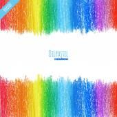 Oil pastel rainbow background — Stock Vector