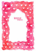 Watercolor frame with hearts — Stock vektor