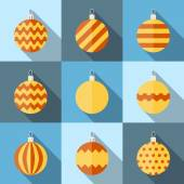 Flat icon set of christmas decorations — Stock Vector