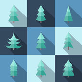 Flat icon set of Christmas trees — Stock Vector