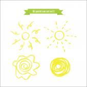 Hand drawn oil pastel sun set — Stock Vector