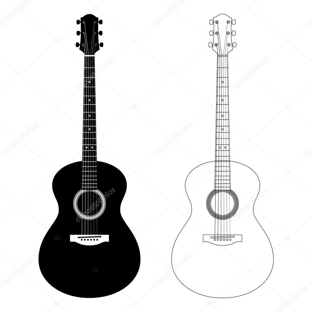 ilustraci u00f3n de contorno y la silueta de vectores de bass guitar silhouette vector bass guitar silhouette vector