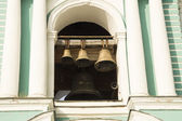Religion. Orthodoxy. The bell tower with bells of different sizes — Fotografia Stock