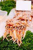 Fruits de mer sur la glace au marché — Photo