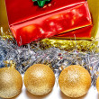 Christmas balls with decoration and gifts — Stock Photo #55007739
