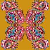抽象的な花とのシームレスなテクスチャをベクトルします。複合民族のシームレスなパターン — ストックベクタ
