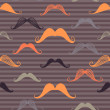 Vintage seamless pattern with mustache and stripes background. Retro style. Vector backdrop. — Stock Vector #54543691