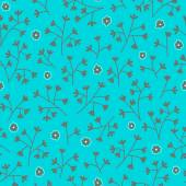 Seamless floral pattern with small flowers. Floral pattern. Endless bright blue background. — Stock Vector