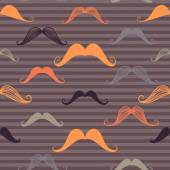 Vintage seamless pattern with mustache and stripes background. Retro style. Vector backdrop. — Stock Vector