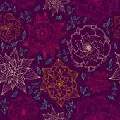 Vector seamless floral wallpaper with hand drawn flowers, brightly colored on dark background. Endless purple background. — Stock Vector