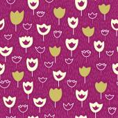 Seamless pattern wirh tulips and grass on a violet backdrop. — Stock vektor