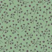 Seamless floral pattern with small flowers. Endless green background. — Stock Vector