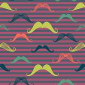 Mustache seamless pattern in vintage style. — Stock Vector