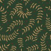Seamless pattern with leaf and small flowers. Vector illustration. Green backdrop. — Vetor de Stock