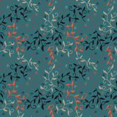 Decorative seamless pattern with leaves and small flowers. — Stock Vector