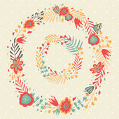 Floral Frame. Cute retro flowers wreathes. — ストックベクタ