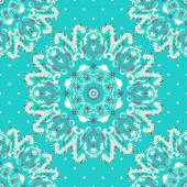 Elegance lace pattern on a blue background with polka dots. Circle ornament, lace. Round pattern. — Stockvektor