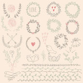 Set of Floral Design Elements. Wedding  set with arrows, hearts, laurel, wreaths, ribbons and labels. — Stock Vector