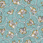 Beautiful floral seamless pattern. Garden blossom blue flowers. Vector illustration. — ストックベクタ