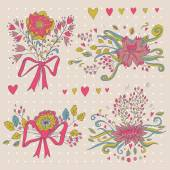 Hand drawn flower bouquet set. Retro flowers in vector. — Stockvector