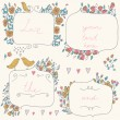 Vector romantic set of floral frames, with couple of birds and hearts in pastel colors. — Stock Vector #63818073