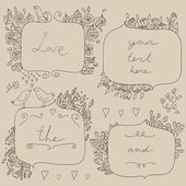 Vector romantic set of floral frames, with couple of birds and hearts. — Stock Vector