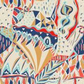 Tradicional padrão ornamental. Mão-extraídas padrão asteca colorido com elementos artísticos. Cores brilhantes. — Vetor de Stock
