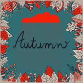 Autumn floral background with leaves, text autumn and cloud with rain on a dark backdrop. Bright floral background in vintage style. — Stock vektor