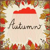 Autumn floral background with leaves, text autumn and cloud with rain. Bright floral background in vintage style. — Stock vektor