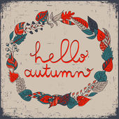 Autumn floral frame with leaves and text hello autumn. Bright floral background in vintage style. — Stock vektor