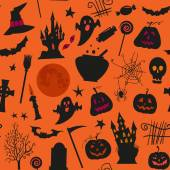 Seamless halloween pattern with , castles, candles, pumpkins, jack o lantern and other simbols. — Cтоковый вектор