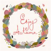 Hello autumn. Autumn wreath  with colored leaves. Background with polka dots. — Vetor de Stock